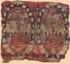 Sassanian fragment 6th-8thc twin horses (julianna.lees) Tags: ancient silk textiles sassanian sogdian senmurvs zandane