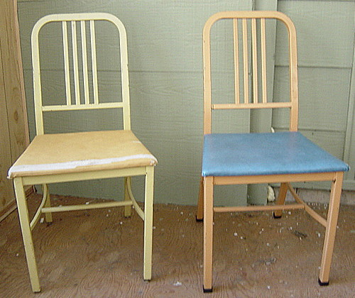 Pair of Metal Emeco Navy style chairs - Canadian made by Simmons Limited, Montreal