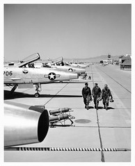 North American F-100 Super Sabres flight line at George AFB, Victorville, CA (aeroman3) Tags: north f100 super sabre american