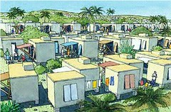 Haiti cabins depicted in a suburban setting (by: DPZ)