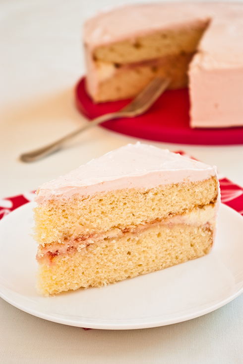 yellow cake with raspberry butter cream
