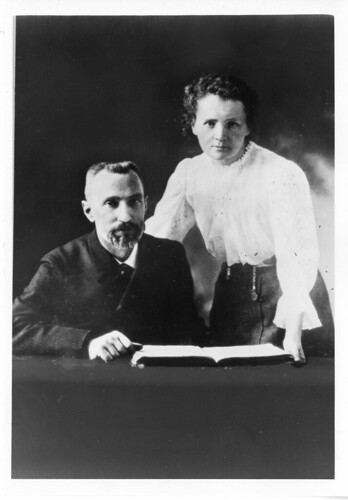 Pierre Curie (1859-1906) and Marie Sklodowska Curie (1867-1934), c. 1903, by Science Service, Black-