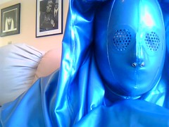 Smiling Hooded Rubber (latexladyll) Tags: blue fetish veil rubber latex submission burqa silenced gagged enclosure bdsmlifestyle