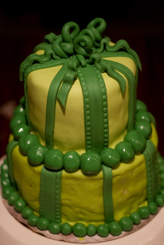 Green Present Cake