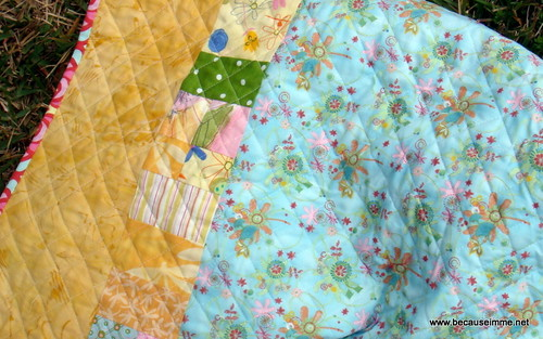 girls four square quilt back