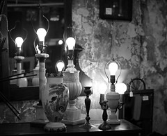 Vintage Lamps (12Jeepgirl~Never look back...) Tags: light urban stilllife eastvillage lamp photoshop blackwhite store downtown metro antique olympus iowa adobe desmoines lightroom ep2 cs4 foundthings