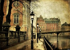 Quay of the House of Knights (Milla's Place) Tags: old bridge texture photoshop buildings river sweden stockholm quay gamlastan lantern oldtown textured riddarhuset ghostworks pareeerica houseofknights skeletalmess magicunicornverybest selectbestexcellence sbfmasterpiece