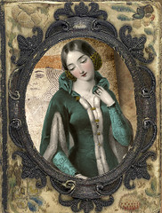 Secrets (akaLunaMoonbeam) Tags: blue green atc digitalart victorian nostalgic secrets playingcard