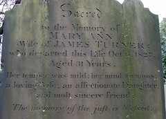"Mary Ann ""her temper was mild: Her mind virtuous"" (maggie jones.) Tags: london cemetery turner battersea huguenot mountnod"