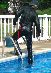 25 LS Dripping wet on pool ladder (Leviswimmerwet) Tags: men wet leather swimming boots clothed guys jeans docm swimmingfullyclothed wetladz wetladzinleather swimmingwetwetlook