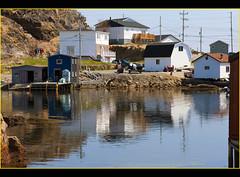 Burgeo Waterfront Area (hjalmar1886) Tags: canada newfoundland reflections dock waterfront harbour stage shed wharf burgeo fishingequipment d700 holidaysvacanzeurlaub hjalmar1886