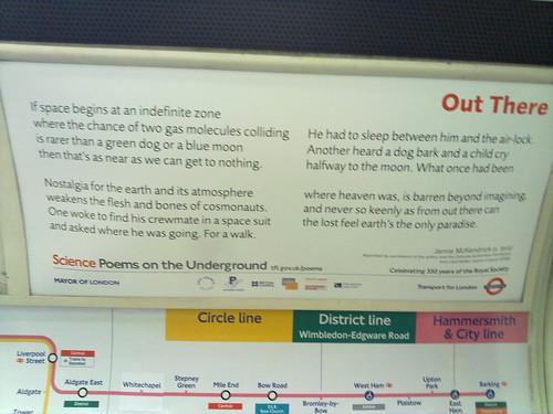Space poem in the underground