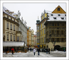 Old Town Square (paulmcdee) Tags: travel winter snow cold tourism architecture canon buildings square europe republic czech prague colourful oldtown 5photosaday eos450d topqualityimagesonly
