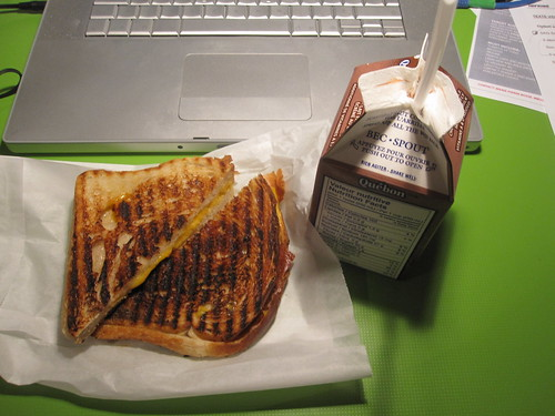 Grilled cheese, chocolate milk - $5.45