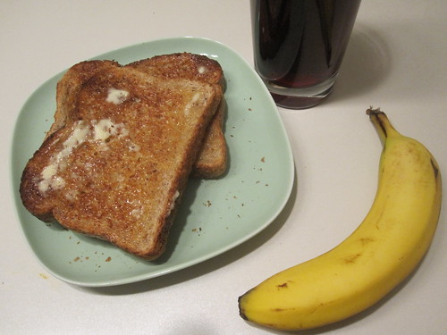 Toast, banana, grape juice