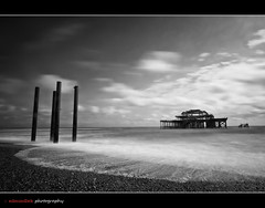 Tide in, Tide out (edmundlwk) Tags: uk longexposure sea england bw beach landscape seaside rocks brighton wave westpier shore nd110 10stops canon7d tokina1116mmf28