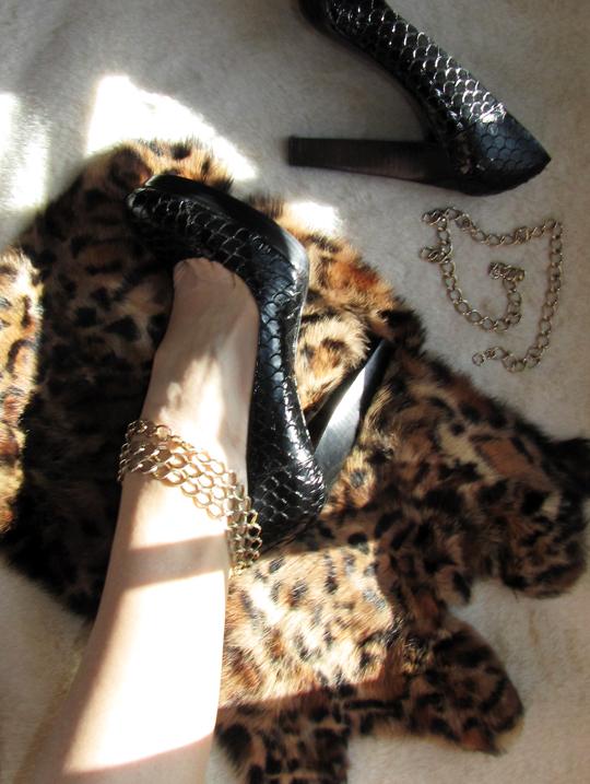 anklet heel DIY+leopard print fur+chains