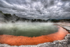 The Artist's Palette in Rotorua (Stuck in Customs) Tags: new travel newzealand lake southwest colors pool digital photography blog high nikon rotorua dynamic stuck pacific district champagne centre surreal center steam photoblog zealand crater caldera software processing northisland imaging wai february hotspring range geothermal aotearoa brilliant hdr tutorial trey waiotapu travelblog customs 2010 arsenic hydrothermal bayofplenty tapu ratcliff taupovolcaniczone hdrtutorial stuckincustoms d3x treyratcliff photographyblog teikaamui reporoa stuckincustomscom hydrochemistry terotoruanuiakahumatamomoe oktainavolcanic antimonysulfides