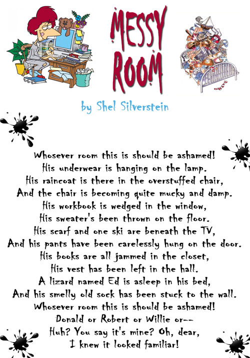 Language Arts: Thoughts on Messy Room by Shel Silverstein | 500 x 715 jpeg 97kB