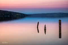 (I| ([Adam Baker]) Tags: park wood pink blue sunset orange lake ny reflection water canon still state calm pylon environment ithaca portfolio fingerlakes cayuga tompkins cpl treman gnd photomatix 24105l adambaker goosfraba 2stop countyspring 5dmarkii exposurefusion