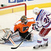 Brian Boucher #33 of the Philadelphia Flyers stops Erik Christensen #26 of the New York Rangers during the shoot-out