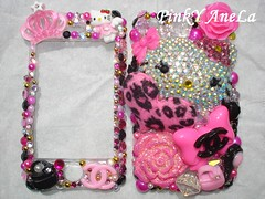 ★My New iPhone Case ~ Pink and Black Combination Momoberry Hello Kitty Theme!★ (Pinky Anela) Tags: japan japanese hellokitty kawaii deco iphone momoberry decoden pinkyanela chanelbling