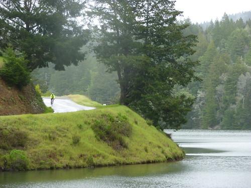 Descending Along Alpine Lake