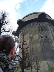 v4 (friendly terrorist) Tags: vienna wien park city trees man tower scarf hair concrete war head rear bunker memory ww2 aa antiaircraft augarten
