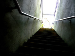 There is a Way Out (Julie Tao) Tags: trees light sky house black stairs work way out handle lumix is scary holding bars bright god stairway panasonic staircase gross there keep poles reach temptation shining depth brightness muddy sooc fs15 topofblock