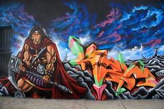 kezam warrior (Luna Park) Tags: nyc ny newyork brooklyn clouds graffiti 3d mural warrior lunapark bt bushwick pase kezam