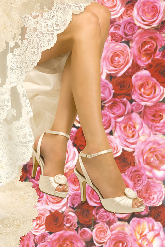Ornamental roses on a comfortable wedding shoes