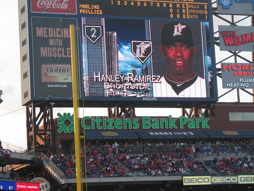 Hanley Ramirez on the Citizens Bank Park jumbotron