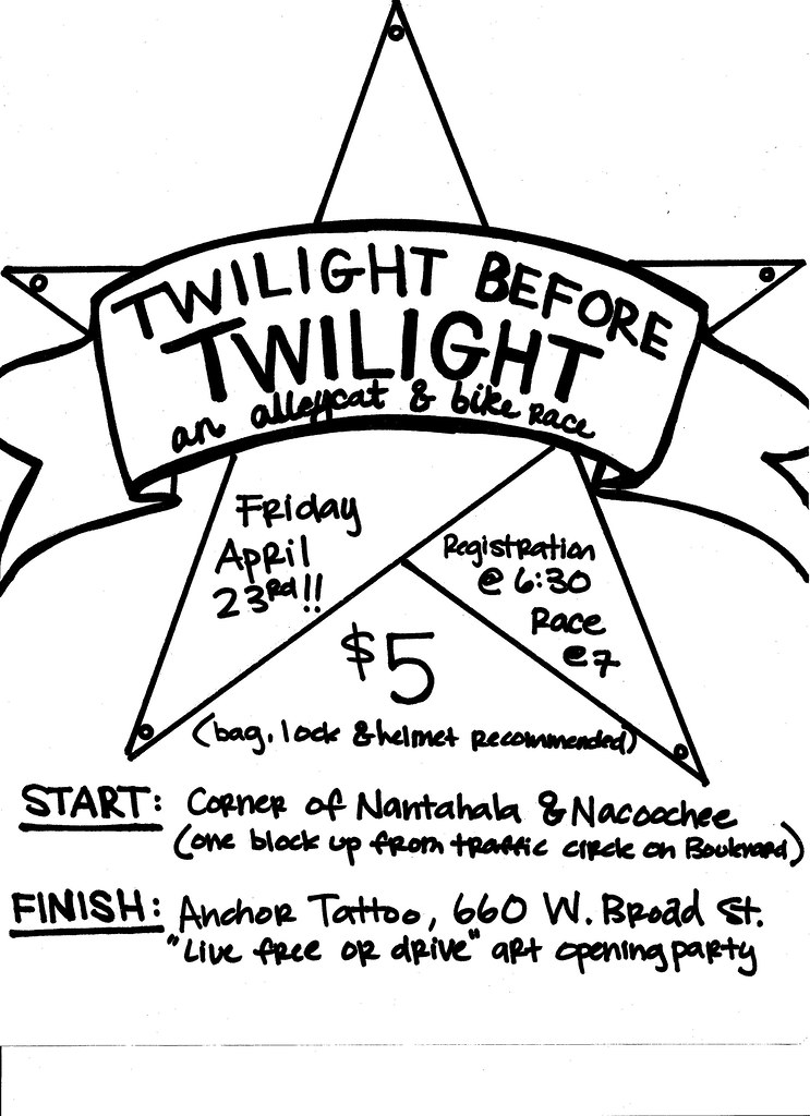 Twilight before Twilight Alleycat Friday April 23rd Athens