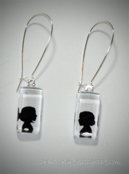 silhouette pendant charm earrings child children custom personalized etsy small front
