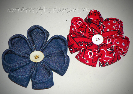fabric flower hair clips denim bandana