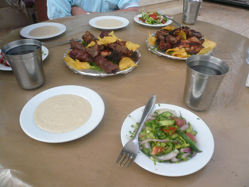 Mezzes at Baraka, including spicy tahina