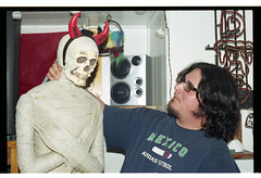 Cousin Mike w/ the Demon Mummy from Tony's pad (magnafurious) Tags: family film 35mm ricohkr5 rikenon50mmf14 lomo400