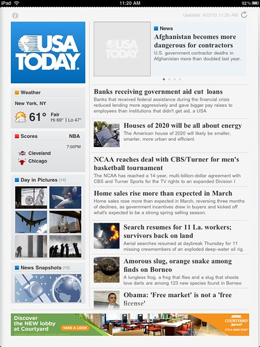 USA TODAY for iPad homepage