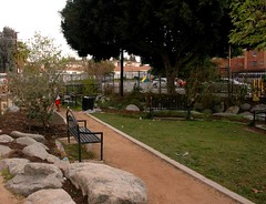 the Village created a pocket park on nearby public property (by: Elly Blue, creative commons license)