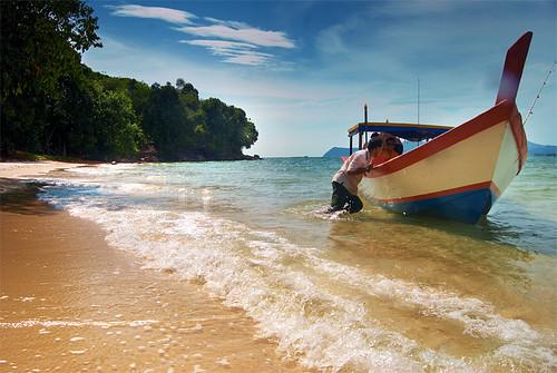 Boat at Pasir Tengkorak Beach