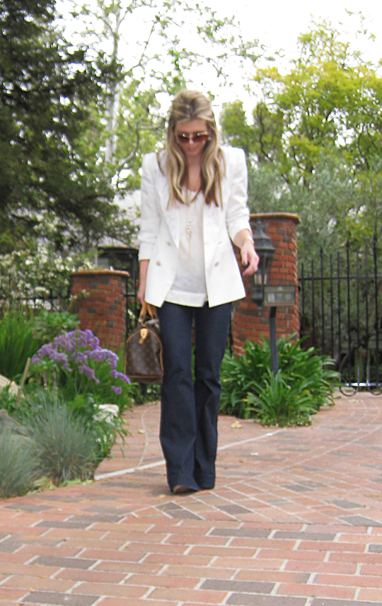 j brand jeans+lovestory+white blazer+louis vuitton bag