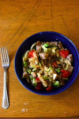 roast pork, red pepper, various veggies, and quinoa