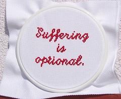 Suffering is optional (aicien) Tags: red crossstitch needlework stitching kreuzstich