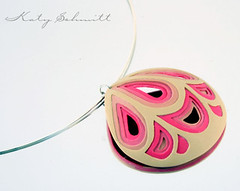 Bente (Katy Schmitt) Tags: pink brown silver necklace beige purple stripes jewelry line lila jewellery polymerclay fimo braun metall schmuck hollow contour streifen jewellry silber kette polymer hohl polyclay hhenlinie isohypsen