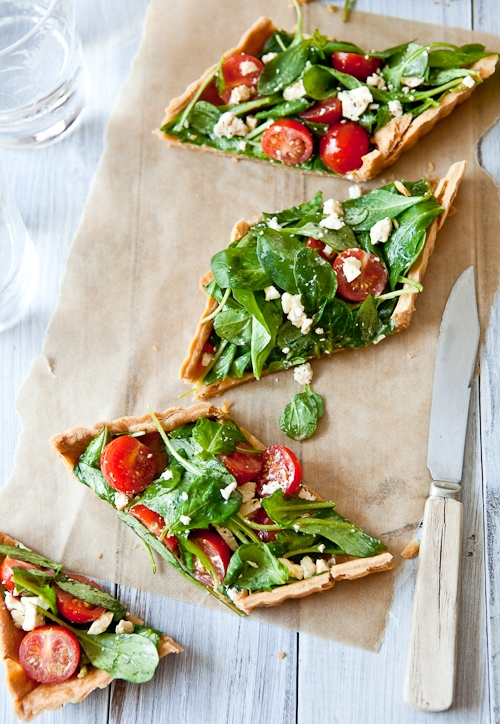 Tartelette: Savory Greens, Tomatoes & Goat Cheese Tarts