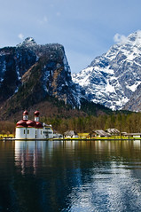 St. Bartholomew's Church, Berchtesgaden (Sergiu Bacioiu) Tags: b lake snow alps reflection church germany landscape bayern bavaria berchtesgaden catholic outdoor chapel alpine alpen baroque pilgrimage deu hirschau nationalparkberchtesgaden historicalheritage outstandingromanianphotographers