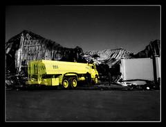 Warehouse Burnt Down (Fawzan Hasan) Tags: yellow warehouse firetruck burnt saudi arabia firefighter destroyed ksa fawzanhasan