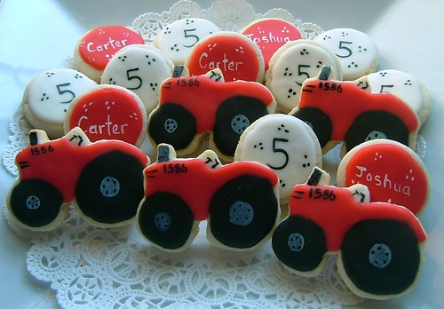 Red Tractor Birthday Cookies