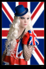Miss Britain (mhy design) Tags: uk greatbritain blue red portrait england white english girl germany jack deutschland unitedkingdom britain sony union gothic goth lindsay blond mia british unionjack englisch miawallace britisch kostuem mhy sonya100 missbritain mhydesign