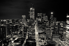 night running (tomms) Tags: sky urban blackandwhite toronto ontario canada skyline night spring cityscape explore metropolis kingstreet frontpage rooftopping